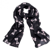 JewelryWe Women's Large Soft Scarf Wrap Shawl Chiffon Bowknot Print Scarves Neck Scarf