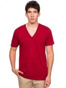 American Apparel Unisex Fine Jersey Stripe Short Sleeve V-Neck
