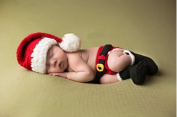 Jastore Photography Prop Baby Infant Costume Santa Claus Crochet Knitted Nappy Cap