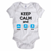 KEEP CALM AND SWIM BIKE RUN - Triathlon / Triathlete / Sport Themed Baby Grow / Suit