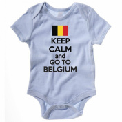 KEEP CALM AND GO TO BELGIUM - Europe / European Themed Baby Grow / Suit