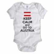 KEEP CALM AND GO TO AUSTRIA - Austrian / Europe / European Themed Baby Grow / Suit