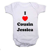 I LOVE COUSIN (INSERT NAME) Boys/Girls Baby Grow/Vest Baby Shower Gift