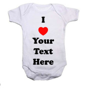 I LOVE (INSERT WORDING) Boys/Girls Baby Grow/Vest Baby Shower Gift
