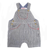 Plum Collections Baby Boy's 3-6 Months Navy & White Stripe Summer Denim Dungarees