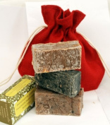 This offer contains, Deodourising Charcoal Natural Soap , Body Polishing Shea nut and Coffee Soap, Yummy Chocolate soap. You get 3 Bars of rich Creamy soaps. Natural, Moisturising, Shea Butter Natural Hand Made Soap Gift Set,