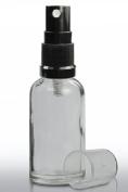 3 x 30ml Clear Glass Bottle with Black Atomiser Mist Spray