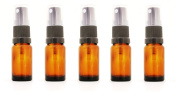 Pack of 5 x 15ml Amber Glass Bottle with BLACK Atomiser/Spray Top. Ideal for essential oils, aromatherapy blends, flower waters, homoeopathic remedies. Perfect travel size bottles with sprayer/atomiser.