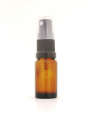 10ml Small Amber Glass Bottle with Black Atomiser/Spray Top. Top quality empty aromatherapy bottle, perfect for essential oils, perfume oils, travel size atomiser.