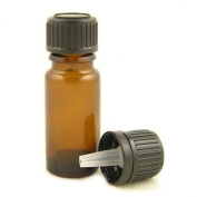 Glass Bottles Amber 10ml. With Standard Black Dropper Cap.