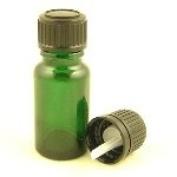 Glass Bottle Green Durham 10ml With Standard Black Dropper Cap
