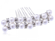 Silvertone Genuine Rhinestone and Faux Pearl Two Rows Layer Fashion Hair Comb