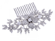 Silvertone Genuine Rhinestone Flowers Leaves Vines Encrusted Fashion Hair Comb