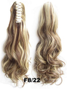 Queen Wig Long wave Jaw Claw Clip Ponytail clip on hair piece extension pony fall - #8H22 medium brown/Light blonde
