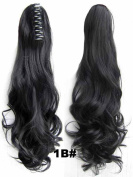 Queen Wig Long wave Ponytail Claw Clip in on Hair Piece Extension Hairpiece - #1b Natural Black