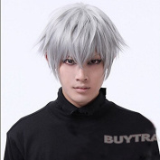 leading-star Tokyo Ghouls Ken Kaneki Cosplay Wig Mens Short Halloween Party Wigs