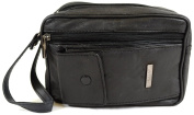 Mens Super Soft Nappa Leather Bag with Wrist Strap and Multiple Compartments