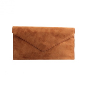 Ladies Brown Suede Envelope Evening Clutch Bag
