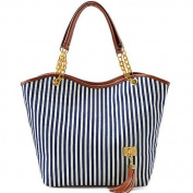 Five Season Simplified Style Tote Elegant Shoulder Bag Gold Chain Metal Tassel Handbag Canvas Purse