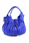 "Belli® ""Globe Bag"" Womens Italian Multicoloured Genuine Nappa Leather Shopper Pouch Bag Royal Blue - 30x21x24 cm"