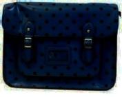 Large YASMIN BAGS 34cm Vintage Polka Dot Spotty A4 Satchel/Cross Body Bag with FREE YASMIN BAGS trolley/locker coin keychain