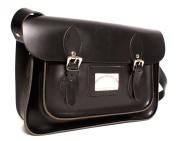 38cm Black Real Leather Oxbridge Satchel IN-NEW RL15 BLACK - Fashion Retro School Bag - Boxed