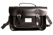 33cm Black Satchel with Handle Real Leather Oxbridge Satchel IN-NEW 13 BLACK SATCHEL WITH HANDLE - Fashion Retro School Bag - Boxed