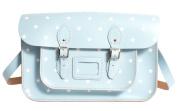 38cm Baby Blue with White Stars Pattern English Leather Oxbridge Satchel - Fashion Retro School Bag