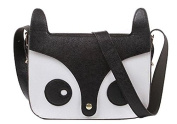Five Season Cute Fox Shoulder Messenger Bag PU Leather Crossbody Satchel Handbag Black