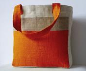 Orange Jute (Hessian) Tote Bag in Contemporary Colour Block Design - Handmade Totes for Use as Shopping Bags or Gifts - Jute Bags with Internal Pouches and Zip Pocket