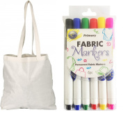 10 Pack Natural Cotton Tote Shopper Bags with Free Fabric Pens!