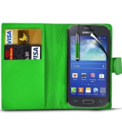 (Green) Samsung Galaxy Ace 3 S7270 Protective Faux Leather Debit/Credit Card Slot Book Stye Wallet Flip Case Cover Skin, Retractable Capacative Touch Screen Stylus Pen & LCD Screen Protector Guard By *Aventus*