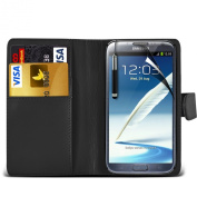 (Black) Samsung Galaxy Note 2 N7100 Protective Faux Leather Debit/Credit Card Slot Book Stye Wallet Flip Case Cover Skin, Retractable Capacative Touch Screen Stylus Pen & LCD Screen Protector Guard By *Aventus*