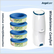 Angelcare Comfort Nappy Bin with Refill Pack of 4 Nappies