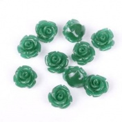 Well-Goal 20pcs Green Flower Manmade Coral Beads 10mm Bulk for Jewellery Making