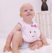Bathing Bunnies Piggy Cotton Bib Baby Pink