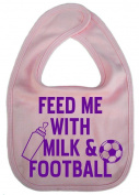 Dirty Fingers, Feed me with Milk & Football, Unisex World Cup Feeding Bib, Pale Pink
