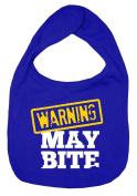 Dirty Fingers, Warning, May Bite, Boy Girl Feeding Bib, Royal Blue