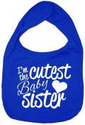 Dirty Fingers, I'm the Cutest Baby Sister, Boy Girl Feeding Bib, Royal Blue