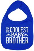 Dirty Fingers, I'm the Coolest Baby Brother, Boy Girl Feeding Bib, Royal Blue