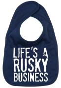 Dirty Fingers, Life's a Rusky Business, Boy Girl Feeding Bib, Navy