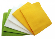 MuslinZ 6pk Unisex Colour combo Baby Muslin Squares 100% cotton 70x70cms Yellow/White/Green
