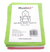 MuslinZ 6pk Girl Colour combo Baby Muslin Squares 100% cotton 70x70cms Pink/White/Green