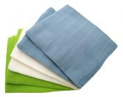 MuslinZ 6pk Boy Colour combo Baby Muslin Squares 100% cotton 70x70cms Blue/White/Green