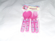 TATTY TEDDY BLUE NOSE FRIENDS PLASTIC 4 PIECE CUTLERY SET PINK