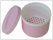 Denture base / dental container /denture base box /braces container with a sieve and lid, colour pink