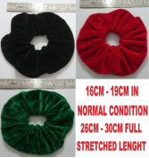 SET OF 3 BLACK RED AND GREEN ATL'S EXTRA LARGE VELVET HAIR SCRUNCHIES ELASTIC SCRUNCHY HAIR BOBBLES