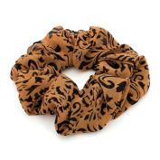 Brown Paisley Large Chiffon Hair Scrunchie AJ28808