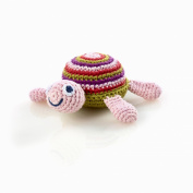 Pebble Fair Trade Hand Crochet Turtle Rattle - Pink
