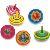 Spinning Tops - Set of 6 various designs wooden 'Mini Spinners'